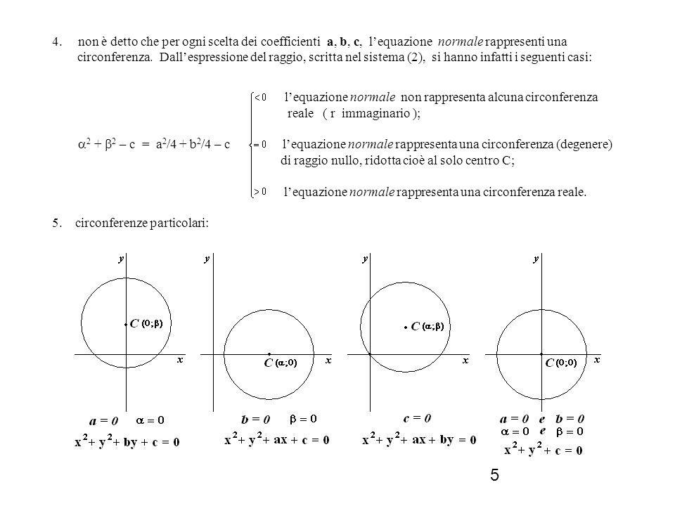 4. non è detto che per ogni scelta dei coefficienti a, b, c, l'equazione normale rappresenti una circonferenza. Dall'espressione del raggio, scritta nel sistema (2), si hanno infatti i seguenti casi: