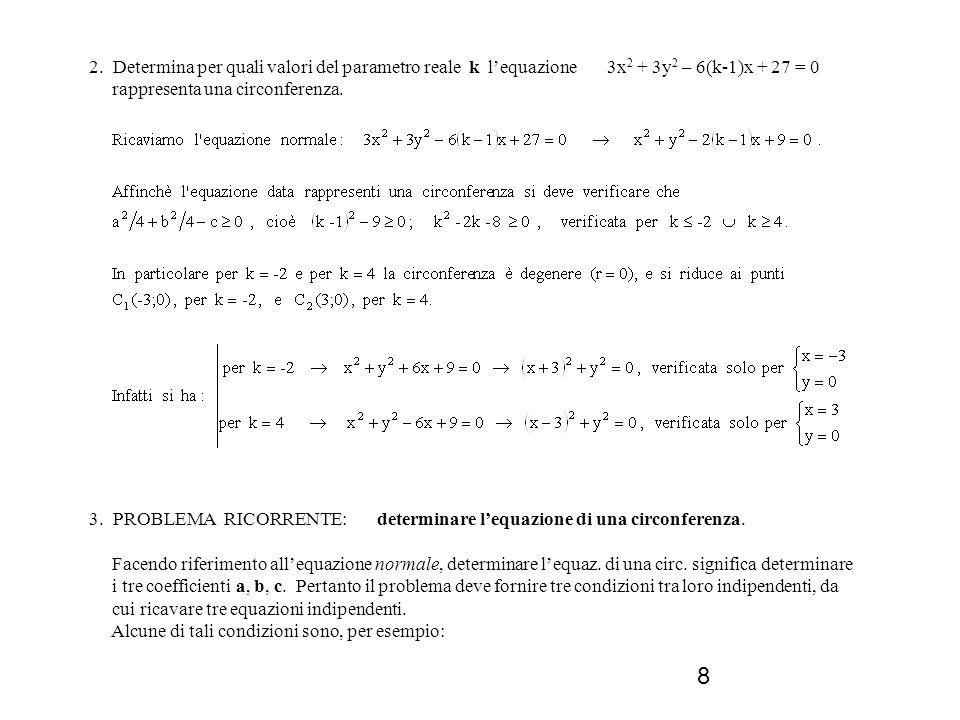2. Determina per quali valori del parametro reale k l'equazione 3x2 + 3y2 – 6(k-1)x + 27 = 0 rappresenta una circonferenza.