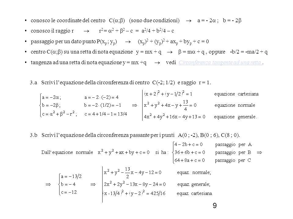 • conosco le coordinate del centro C(;) (sono due condizioni)  a = - 2 ; b = - 2
