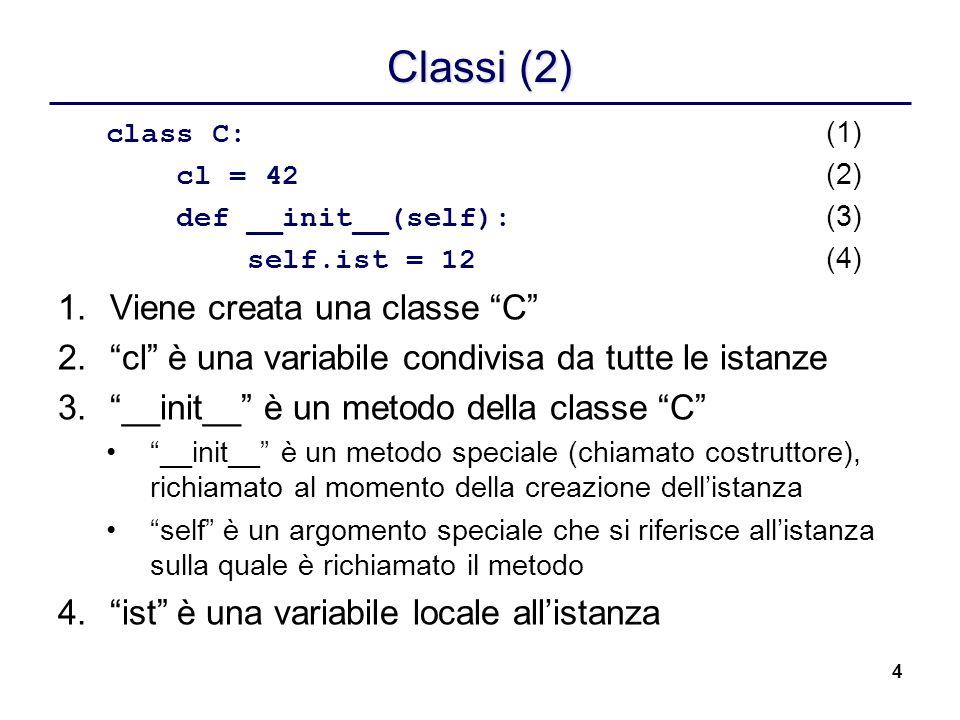 Classi (2) Viene creata una classe C