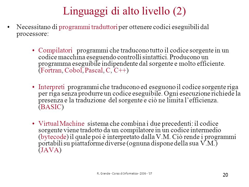 Linguaggi di alto livello (2)
