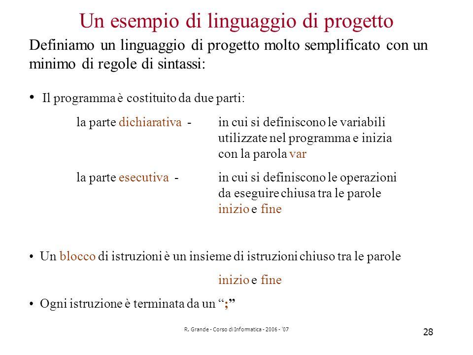 Un esempio di linguaggio di progetto