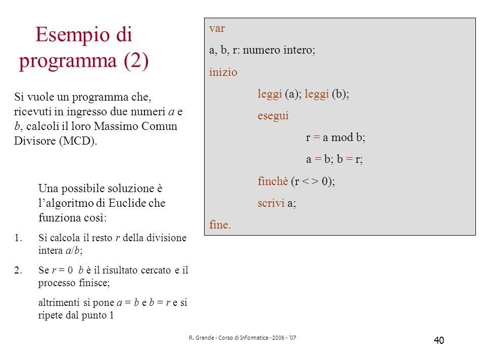Esempio di programma (2)