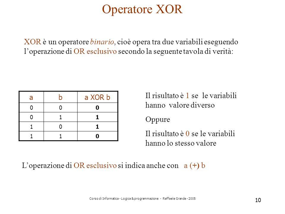 Operatore XOR XOR è un operatore binario, cioè opera tra due variabili eseguendo l'operazione di OR esclusivo secondo la seguente tavola di verità: