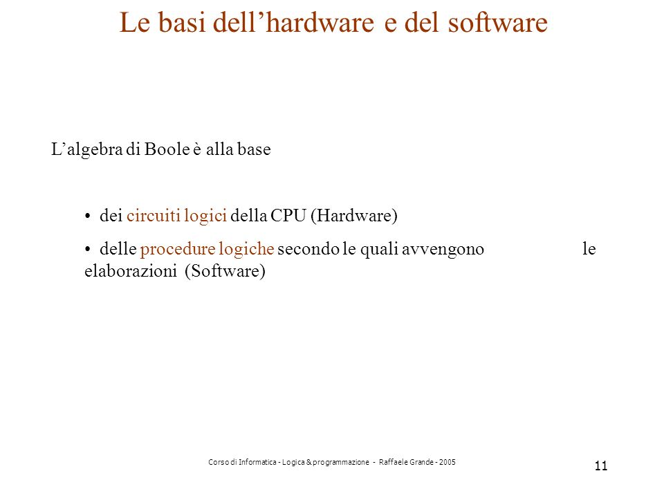 Le basi dell'hardware e del software