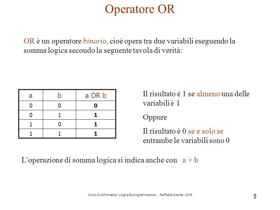 Operatore OR OR è un operatore binario, cioè opera tra due variabili eseguendo la somma logica secondo la seguente tavola di verità: