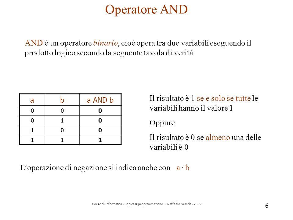 Operatore AND AND è un operatore binario, cioè opera tra due variabili eseguendo il prodotto logico secondo la seguente tavola di verità: