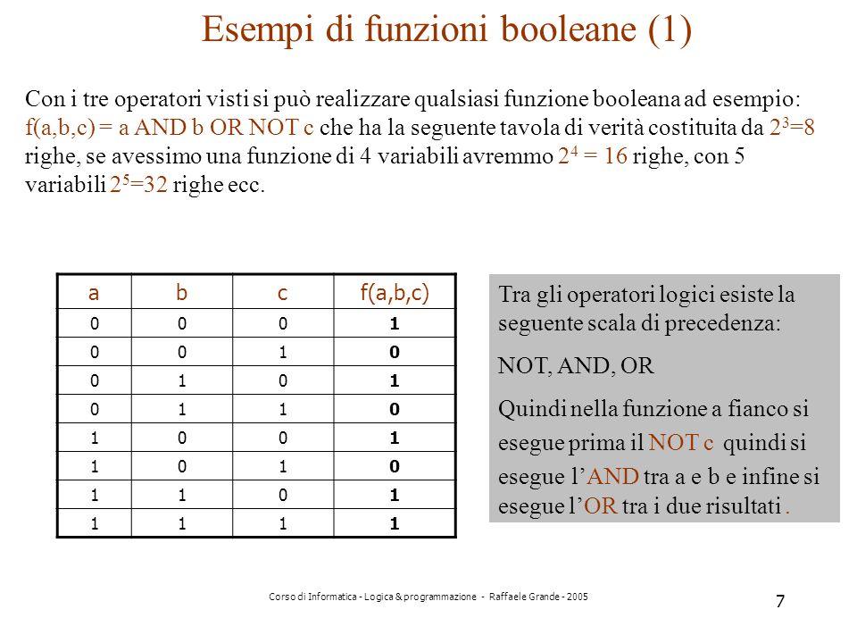 Esempi di funzioni booleane (1)