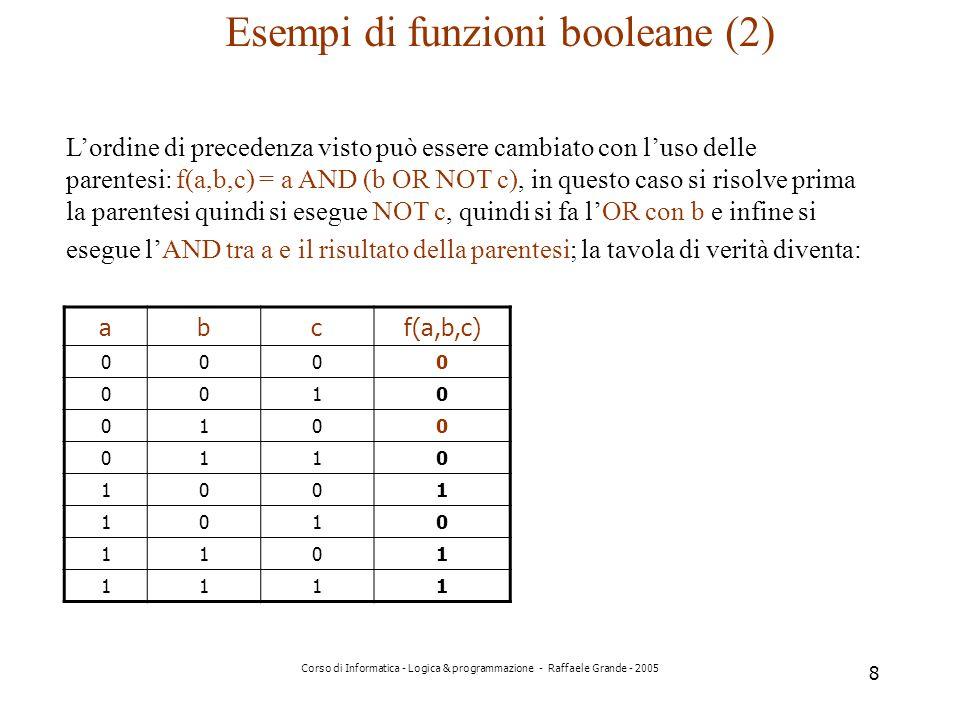 Esempi di funzioni booleane (2)