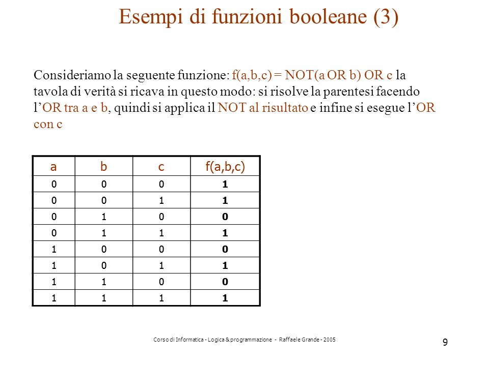 Esempi di funzioni booleane (3)