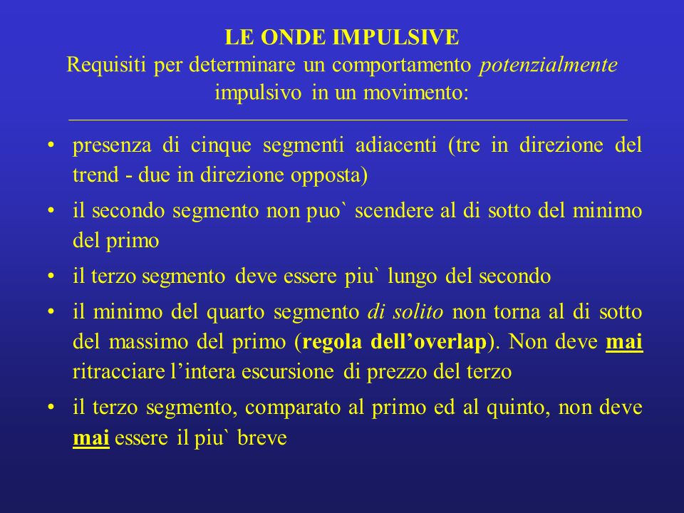 LE ONDE IMPULSIVE Requisiti per determinare un comportamento potenzialmente impulsivo in un movimento: