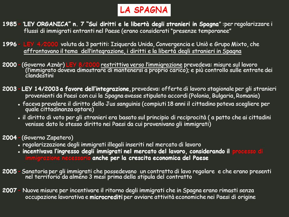 LA SPAGNA 1985 – LEY ORGANICA n. 7 Sui diritti e le libertà degli stranieri in Spagna :per regolarizzare i.