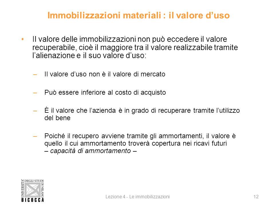 Immobilizzazioni materiali : il valore d'uso