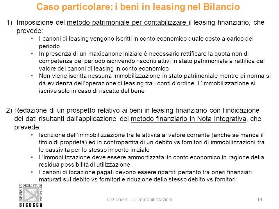 Caso particolare: i beni in leasing nel Bilancio