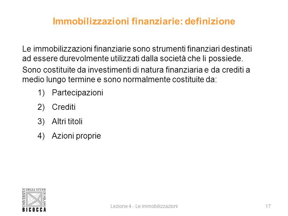 Immobilizzazioni finanziarie: definizione