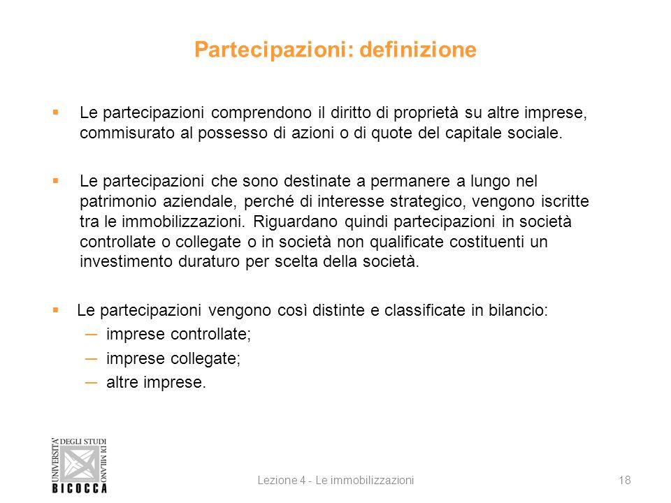 Partecipazioni: definizione