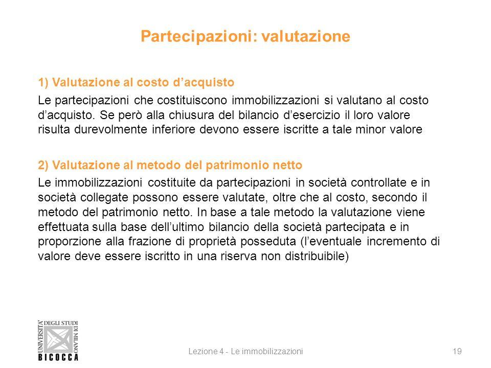 Partecipazioni: valutazione