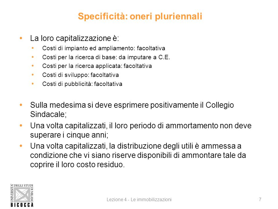 Specificità: oneri pluriennali