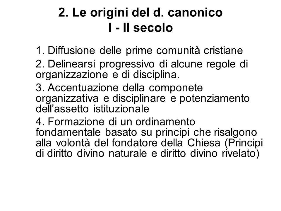 2. Le origini del d. canonico I - II secolo
