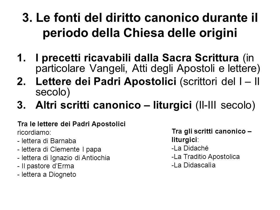 3. Le fonti del diritto canonico durante il periodo della Chiesa delle origini