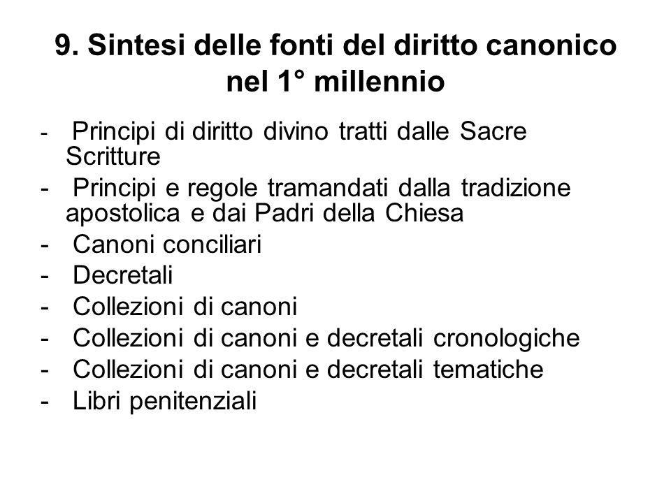9. Sintesi delle fonti del diritto canonico nel 1° millennio