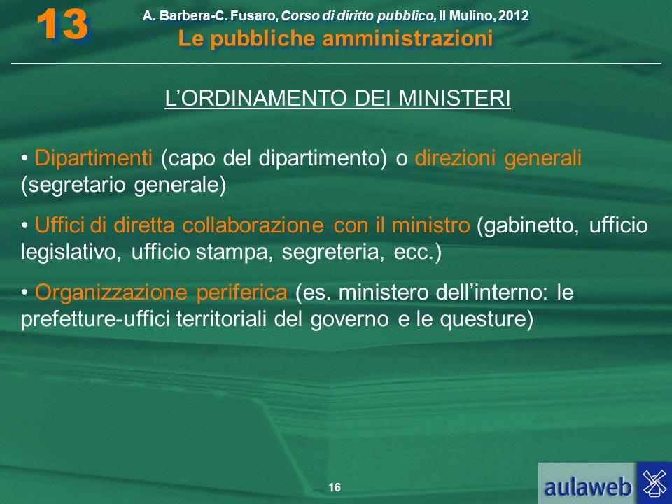 L'ORDINAMENTO DEI MINISTERI