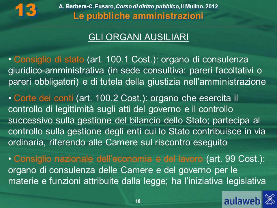 13 A. Barbera-C. Fusaro, Corso di diritto pubblico, Il Mulino, 2012 Le pubbliche amministrazioni. GLI ORGANI AUSILIARI.