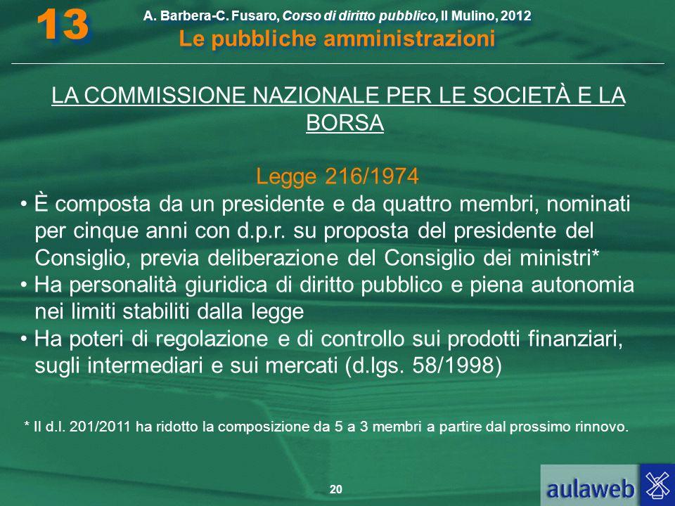 LA COMMISSIONE NAZIONALE PER LE SOCIETÀ E LA BORSA