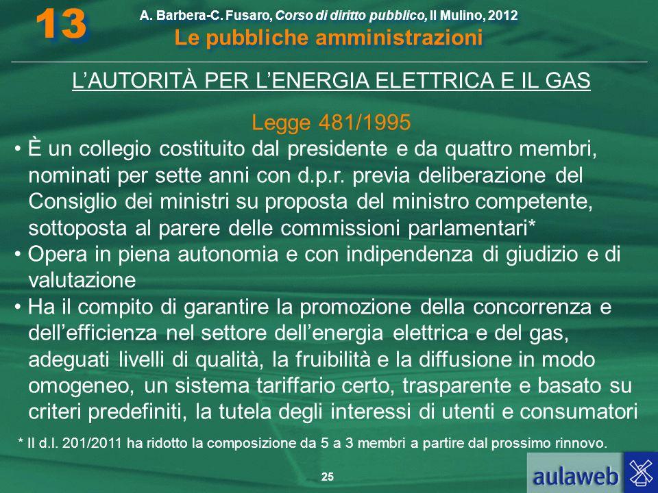 L'AUTORITÀ PER L'ENERGIA ELETTRICA E IL GAS