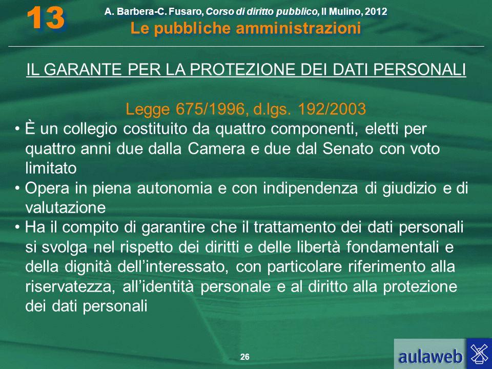 IL GARANTE PER LA PROTEZIONE DEI DATI PERSONALI
