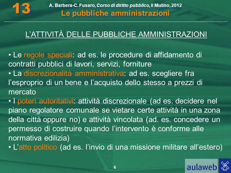 L'ATTIVITÀ DELLE PUBBLICHE AMMINISTRAZIONI