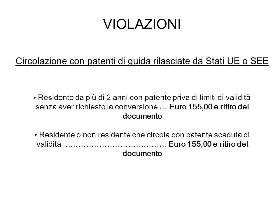 VIOLAZIONI Circolazione con patenti di guida rilasciate da Stati UE o SEE.