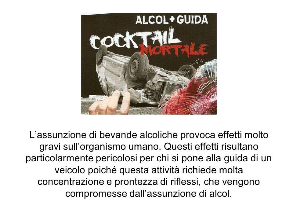 L'assunzione di bevande alcoliche provoca effetti molto gravi sull'organismo umano.