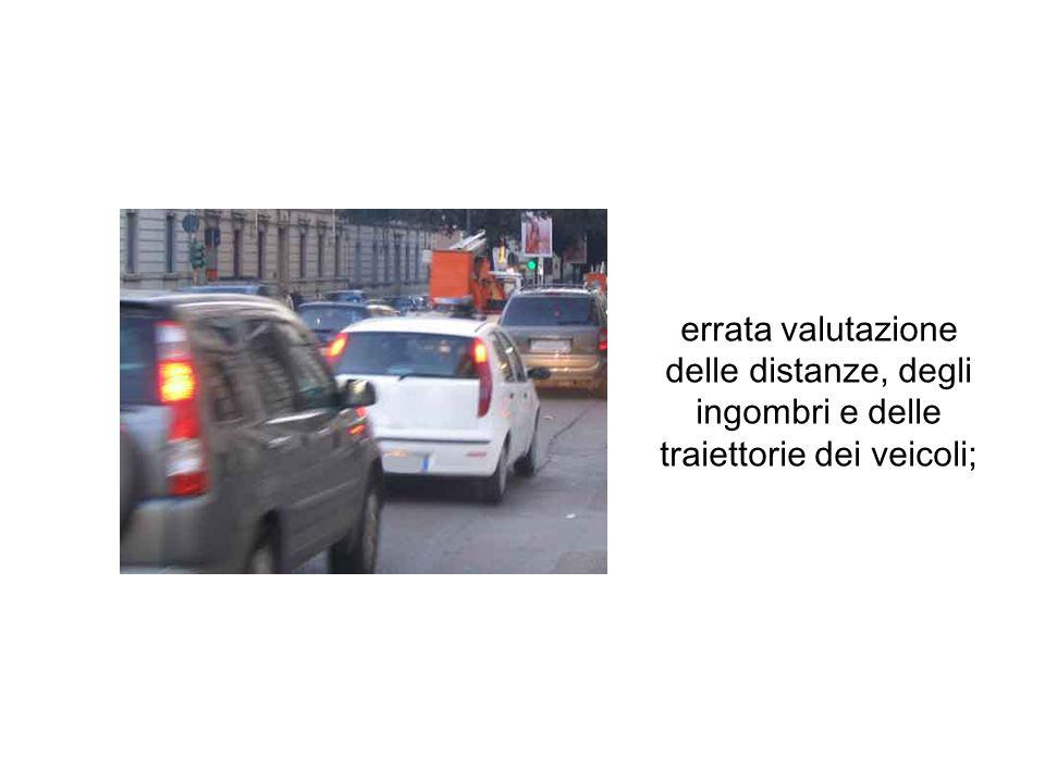 errata valutazione delle distanze, degli ingombri e delle traiettorie dei veicoli;