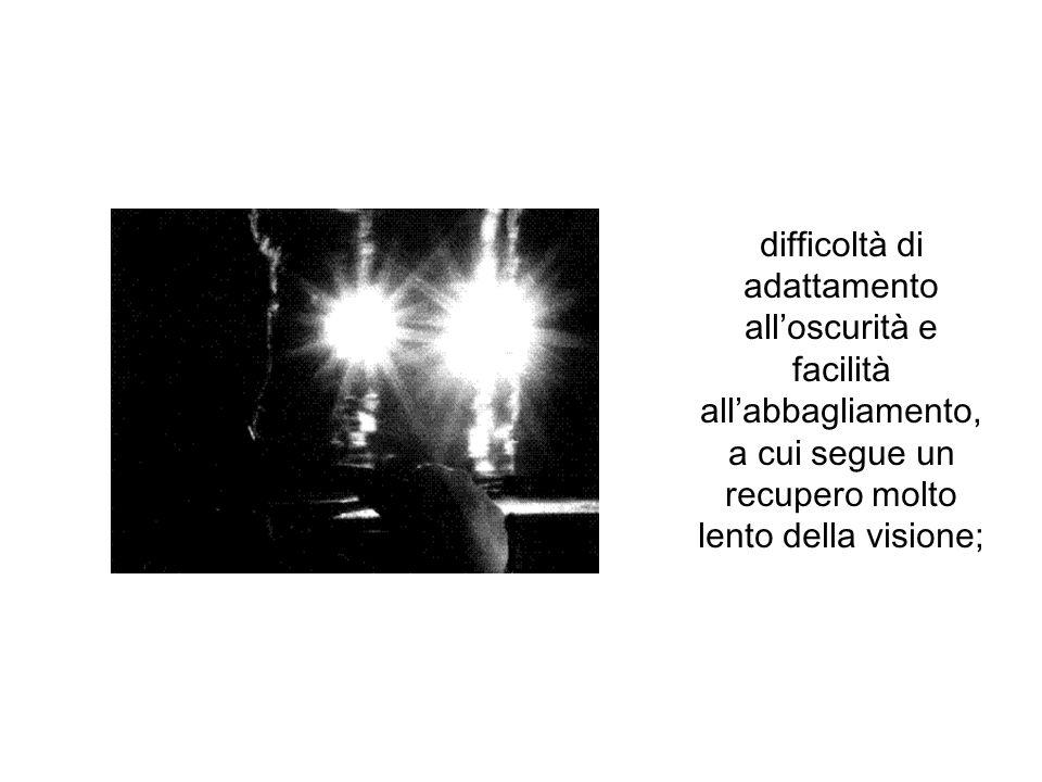 difficoltà di adattamento all'oscurità e facilità all'abbagliamento, a cui segue un recupero molto lento della visione;