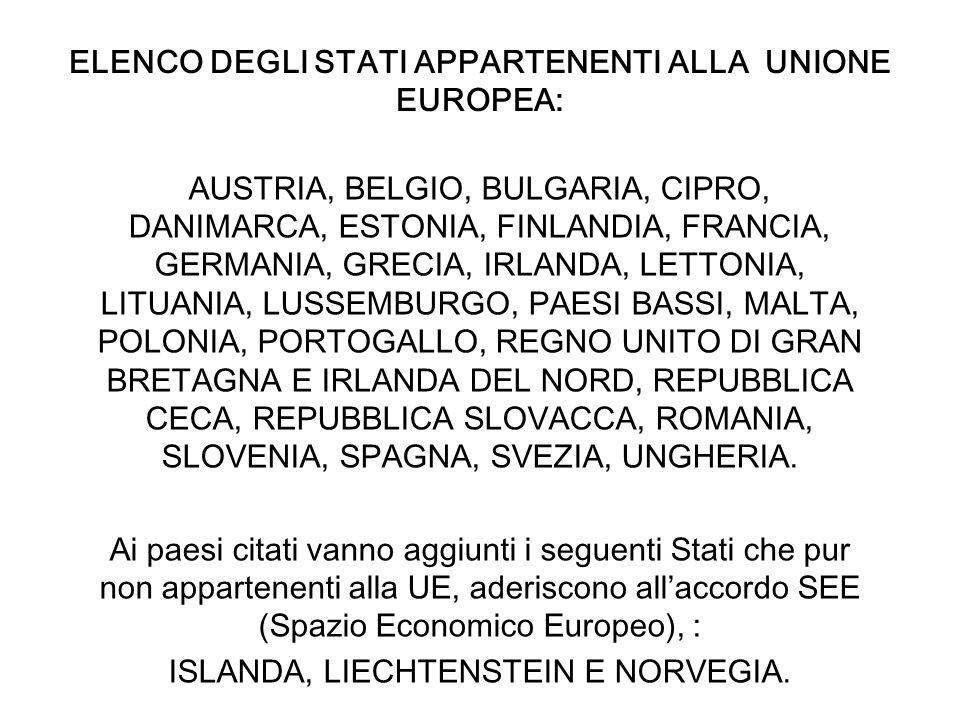 ELENCO DEGLI STATI APPARTENENTI ALLA UNIONE EUROPEA: