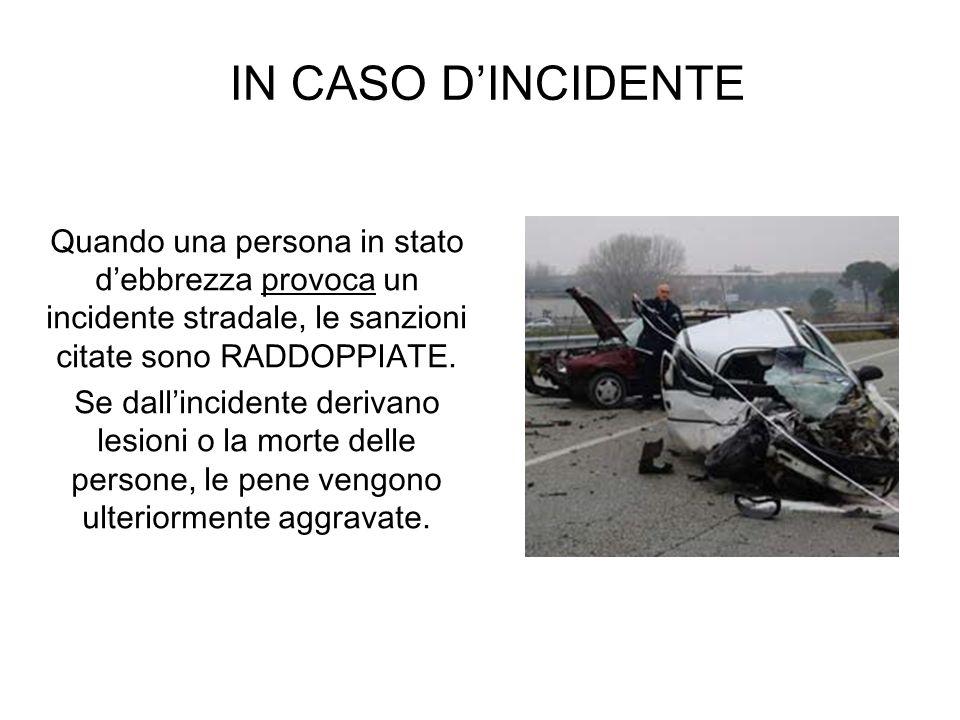 IN CASO D'INCIDENTE Quando una persona in stato d'ebbrezza provoca un incidente stradale, le sanzioni citate sono RADDOPPIATE.