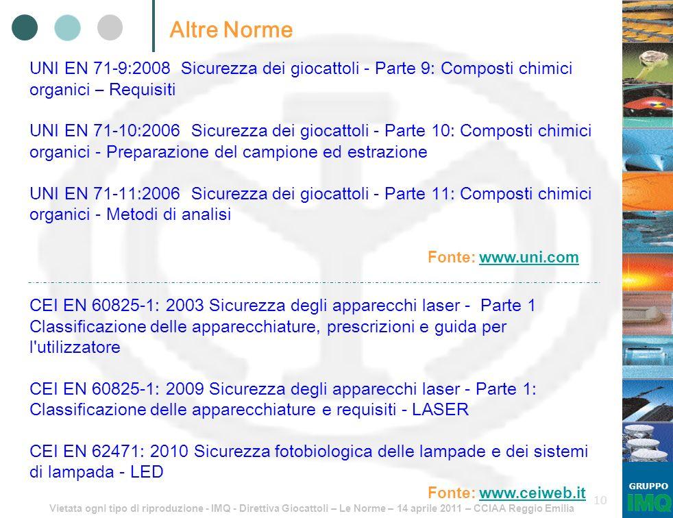 Altre Norme UNI EN 71-9:2008 Sicurezza dei giocattoli - Parte 9: Composti chimici organici – Requisiti.