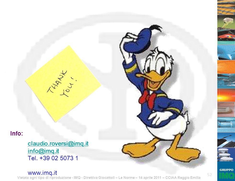 Info: claudio.roversi@imq.it info@imq.it Tel. +39 02 5073 1 www.imq.it
