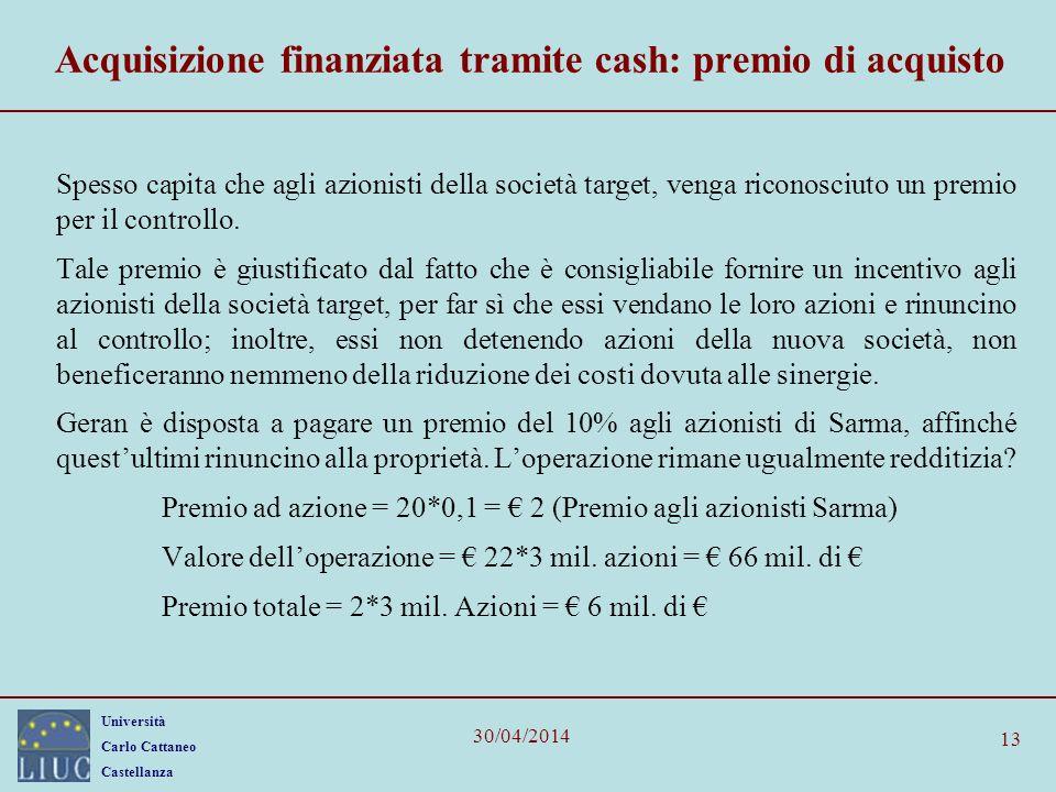 Acquisizione finanziata tramite cash: premio di acquisto