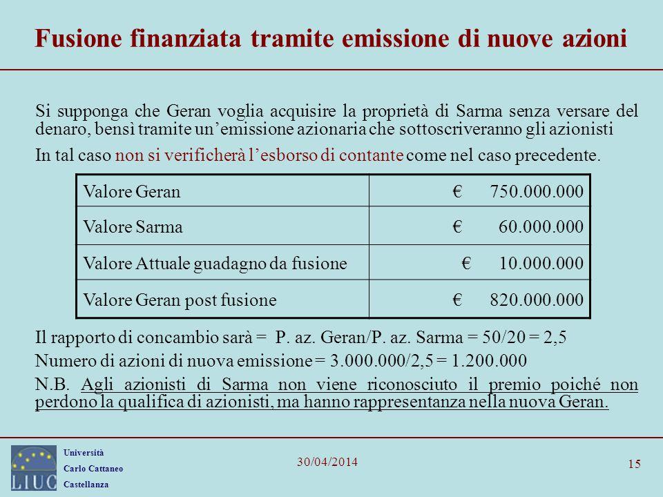 Fusione finanziata tramite emissione di nuove azioni