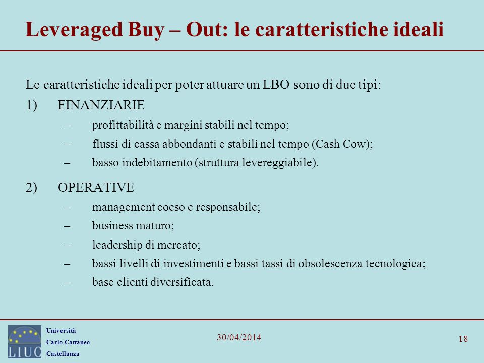 Leveraged Buy – Out: le caratteristiche ideali