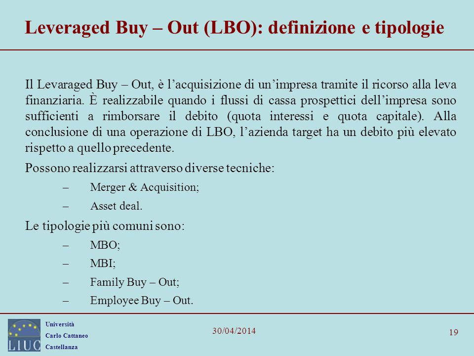 Leveraged Buy – Out (LBO): definizione e tipologie