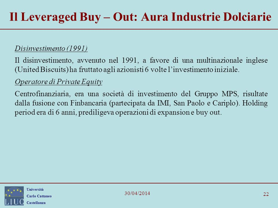 Il Leveraged Buy – Out: Aura Industrie Dolciarie