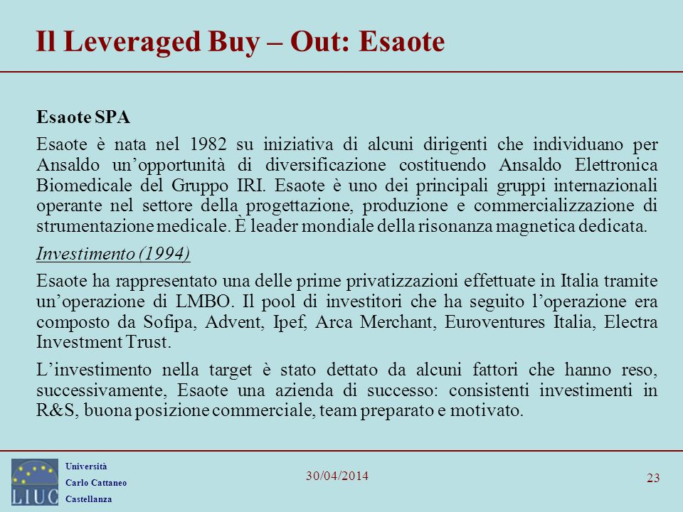 Il Leveraged Buy – Out: Esaote