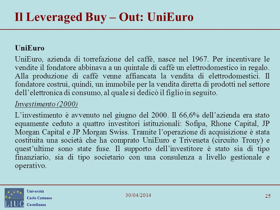 Il Leveraged Buy – Out: UniEuro