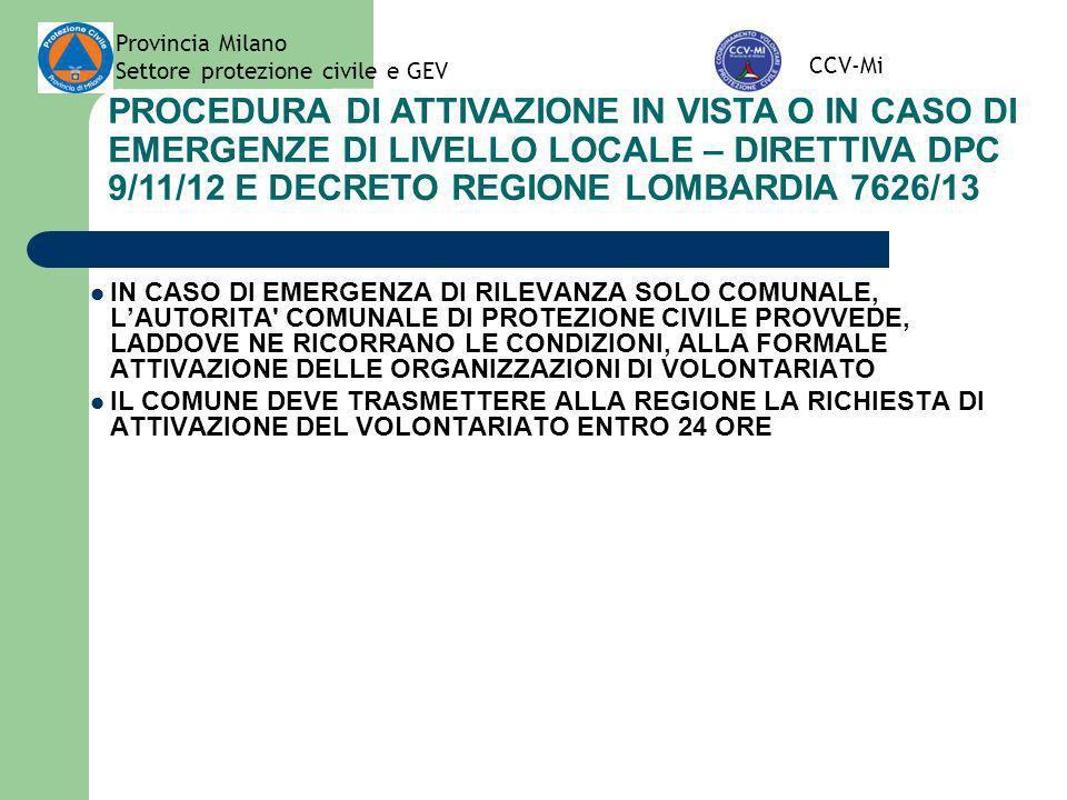 Provincia Milano Settore protezione civile e GEV. CCV-Mi.