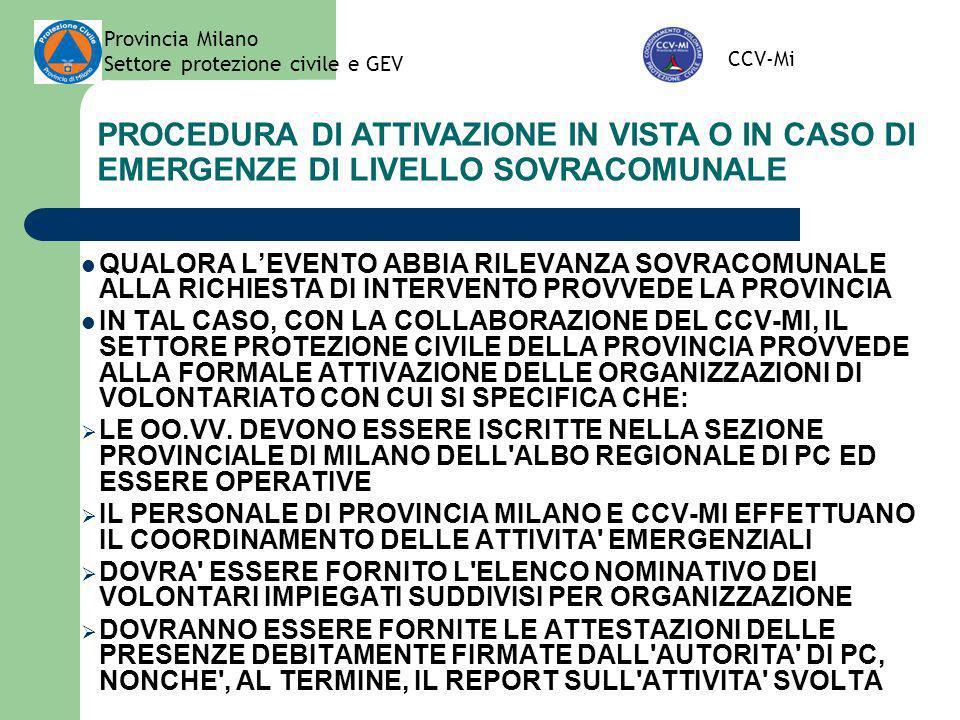Provincia Milano Settore protezione civile e GEV. CCV-Mi. PROCEDURA DI ATTIVAZIONE IN VISTA O IN CASO DI EMERGENZE DI LIVELLO SOVRACOMUNALE.