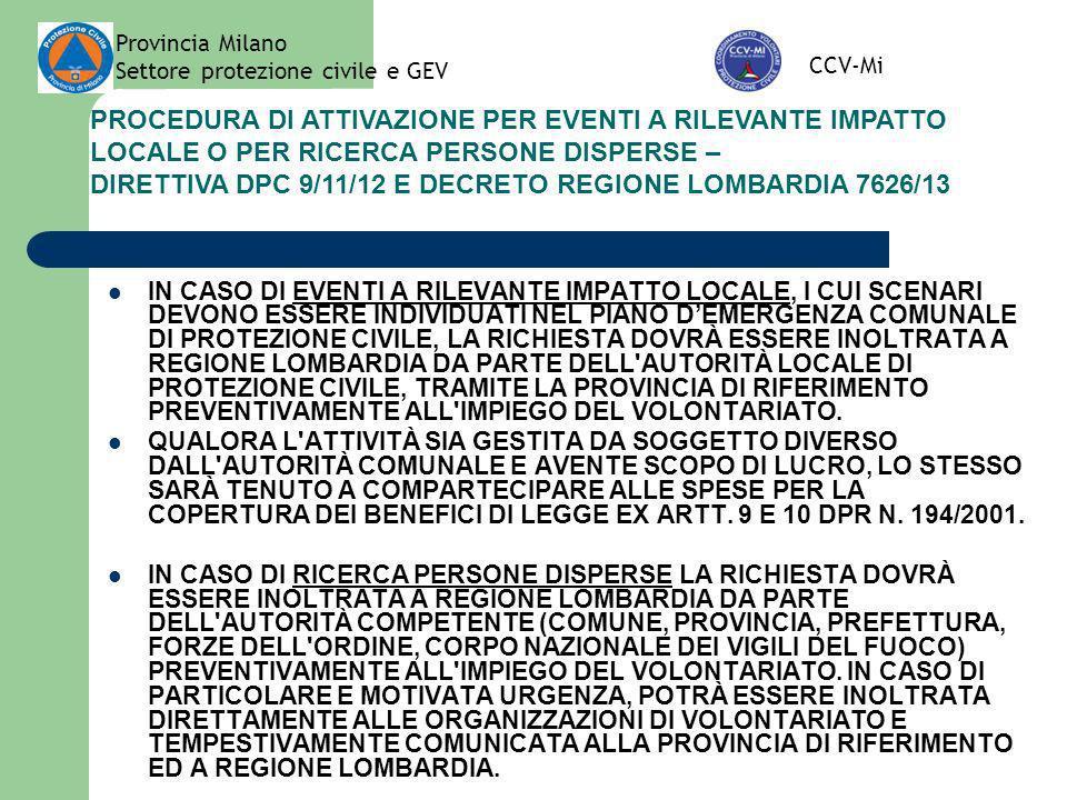 DIRETTIVA DPC 9/11/12 E DECRETO REGIONE LOMBARDIA 7626/13