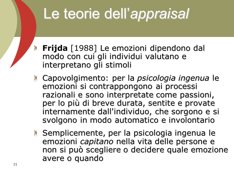 Le teorie dell'appraisal